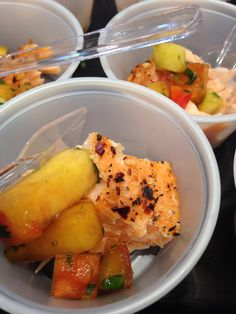Baked Salmon seasoned with Spice Bazaar's new Garlic, Chile, and Peppercorn Grinder and topped with Pick & Prep's fresh made Peach Mango Salsa! Fresh, light, and healthy!