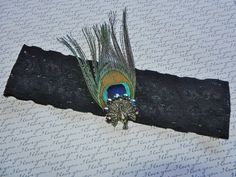 Black Bridal Garter Peacock Feather Design by DESIGNERSHINDIGS, $14.00