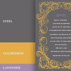 Gray, Lavender and gold wedding palette. (found it at: Invitation Inspiration: fall wedding colors in gray, yellow and lavender) ~ With optimal health often comes clarity of thought. Click now to visit my blog for your free fitness solutions!