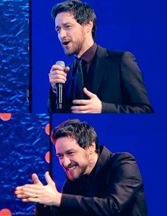 "James McAvoy singing  ""Copacabana""."