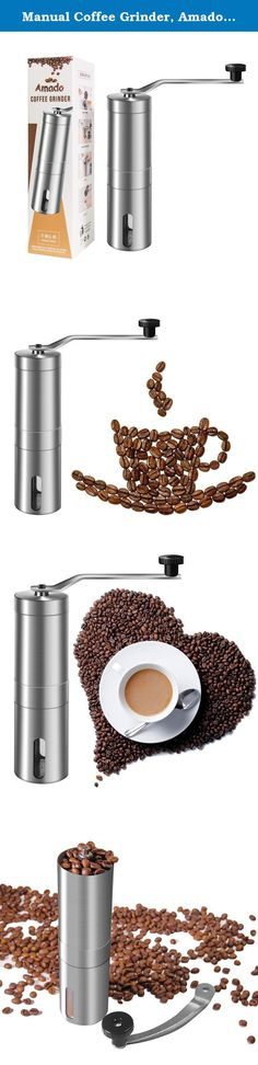 Manual Coffee Grinder, Amado Coarse Coffee Grinder Brushed Stainless Steel Manual Coffee Grinder. Amado Manual Ceramic Burr Coffee Grinder Specifications: Color: Silver Manual Coffee Grinder Product Size: 19* 5* 5 cm Package weight: 11.5 ounces Grinding Core: Ceramics Body: Stainless Steel How to use this manual coffee grinder? 1: Put the coffee bean into the bottle 2: Crank the handle 3: Open the cap 4: Pour out the ground coffee into your cup Package List: 1 * Coarse Coffee Grinder…