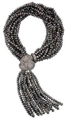 Ivanka Trump Multi-Strand Tassel Bracelet in White Gold with Black Diamond Beads at London Jewelers!