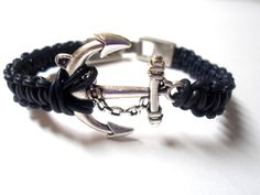 Nautical Anchor Bracelet with a Silver Pull Clasp Navy Bracelet Nautical Bracelet. $17.99, via Etsy.