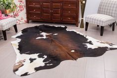 Superior Quality Dark Chocolate Rodeo Cowhide Rug ---DC2