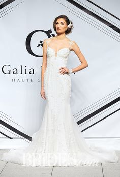 A beaded @galialahav gown with illusion straps | Brides.com
