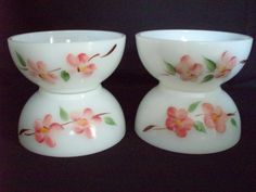 "Fire King Milk Glass Gay Fad Peach Blossom 5"" bowls Pyrex FREE SHIP $19 OBO"