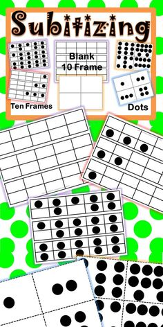 Subitizing is a skill that students need to be able to do for number sense. It is recognizing dots or items and mentally knowing it's number. Subitizing aids in mental math and quick addition or subtraction without having to count. For example, if your students see 5 objects, they should be able to quickly say 5!  Included is a blank 10 frame to use for teaching.