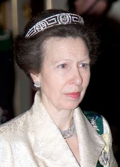 Princess Anne in later life, still wearing her grand mother's tiara, and loaned it to her daughter, Zara Philips, for her big day