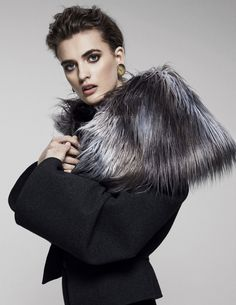 Gareth Pugh's wool coat with faux-fur collar. Wool Coat, Fur Coat, Fur Clothing, Gareth Pugh, Faux Fur Collar, Winter Hats, High Neck Dress, Fashion Trends, Clothes