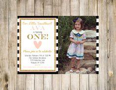 Sweetheart Birthday Photo Invitation First Printable Pink Glitter Digital 1st Likes Loves Favorites Valentines Stripe Valentine Stripe Heart by clsprints on Etsy