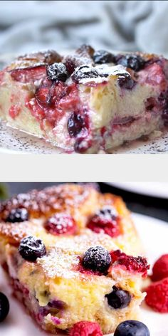 This Bread Pudding is made with tender brioche bread soaked in a rich sweet custard and is loaded with strawberries, raspberries and blueberries. This is the perfect easy summer dessert (and it feeds a crowd!) Make ahead, easy and berrylicious! #Dessert #strawberries #blueberries #raspberries #breadpudding #summer #easy #best