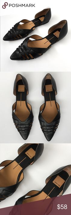 Dolce Vita Alpha Cutout Pointy Flats Black 8.5 Dolce Vita Alpha Leather Flats!  -Women's size 8.5 -Preloved in excellent condition with just minor wear on bottoms of shoes -Boho, chic, modern, classy Dolce Vita Shoes Flats & Loafers