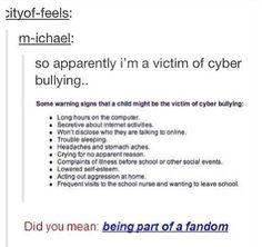 did you mean: being part of a fandom ?
