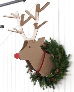 2 X Noël Scandi Style en Bois Renne Suspendu Décorations pour arbres avec cloches