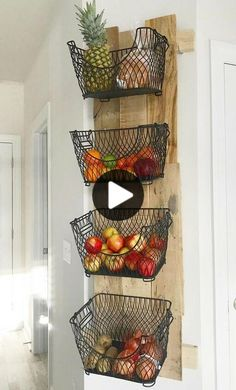 How to Build a DIY Wall Mounted Fruit 038 Veggies Holder How to Build a DIY Wall Mounted Fruit 038 Veggies Holder Nora Marie nomaku einrichtung diy kitchen storage spacesaver organization nbsp hellip wall Kitchen Organization, Kitchen Storage, Kitchen Decor, Diy Kitchen, Kitchen Ideas, Organization Ideas, Wall Storage, Storage Ideas, Basket Storage