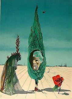 Salvador Dalí, Salvador Dali Enigma of The Rose (Death) Contemporary Art Surrealist Lithograph Salvador Dali Oeuvre, Salvador Dali Paintings, Dali Prints, Modern Art, Contemporary Art, Photo D Art, Surrealism Painting, Vladimir Kush, Art Moderne