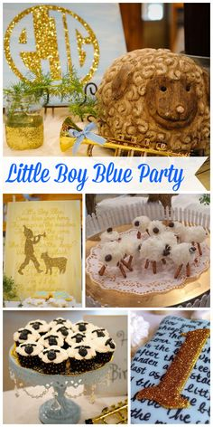 A Little Boy Blue 1st birthday party with gold accents and a sheep cake and cupcakes! See more party planning ideas at CatchMyParty.com!