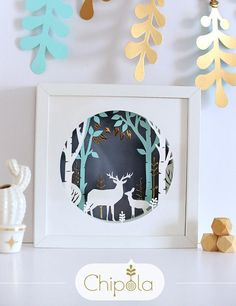 3d Paper Art Deer in the wood Christmas gift 3d picture