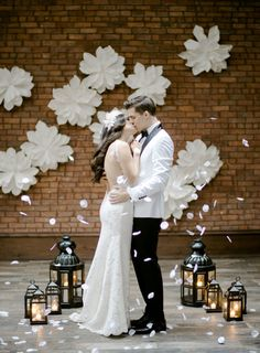 Style Me Pretty: Fresh + Romantic Industrial Wedding Inspiration featuring Two of a Kind! #TwoofakindRentals