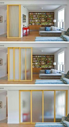 29 sneaky tips for small space living - install sliding walls! (for privacy while maintaining an open feel) Room Divider functional room dividers (for small spaces!) 29 Sneaky Tips & Hacks For Small Space Living High Gloss Rolling Doors for MyInstall slid Home Interior, Interior Design Living Room, Living Room Decor, Living Rooms, Interior Doors, Interior Office, Studio Interior, Interior Livingroom, Design Interiors