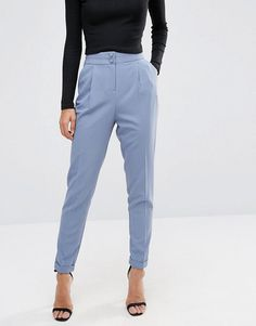 wear with a black or white top & nude or black shoes ~A. ASOS Tailored High Waisted Trousers with Turn Up Detail; Baby Blue Pants, Light Blue Pants, Blue Trousers Outfit, Outfit Combinations, Trousers Women, Fashion Pants, Cool Outfits, Office Attire, Office Wear