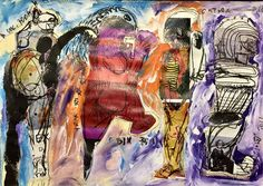 Soly Cissé, 'Dieux', 2013. Mixed media and collage on paper; 11- 81/100 × 16-69/100 in.  Courtesy of Dr. Massimiliano del Ninno