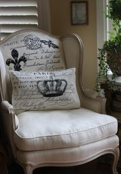 French Chateau Style...love the chair-back and the pillow.