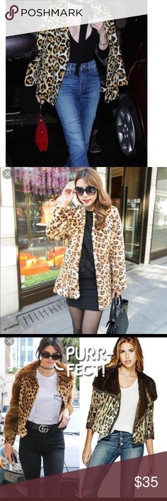 Leopard Coat Like new, wore once . the first four pictures are inspired looks.  the last four are the actual coat Jackets & Coats