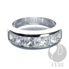 """Bridal Ring"" at its Best, - fine sterling silver, - micron natural rhodium, Set with: - AAA white cubic zirconia Sterling Silver Wedding Rings, Sterling Silver Jewelry, Silver Rings, Metal Jewelry, Jewlery, Rings Cool, Bridal Rings, Engagement Rings, Gemstones"