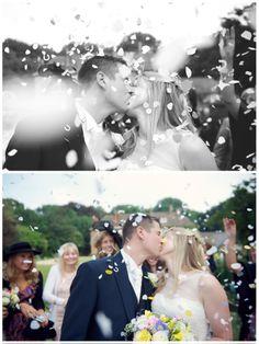 Rebecca Douglas #Photography #kiss #confetti #bride #groom #flowers #country #wedding