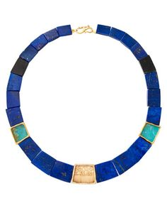 This beautiful blue collar necklace by Monique Pean is a perfect beach wedding statement piece, but it's not for the faint of heart! #wedding #jewelry