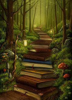 de la vicion de un artista revelando un camino de libros y arboles en su alrrededor