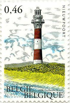 #Lighthouse #stamp - #Faros de Blankenberge. Belgica.2005 - http://dennisharper.lnf.com/