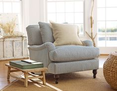 Carlisle Upholstered Armchair, Down-Blend - Sectional Chairs - Living Room Furniture - Pottery Barn - Blinds Direct - Free Living Room Chairs, Living Room Furniture, Home Furniture, Furniture Design, Dining Chairs, Wooden Chairs, Furniture Logo, Furniture Showroom, Urban Furniture