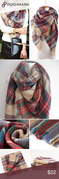 ❤️Restocked❤️ New Gorgeous Plaid Blanket Scarf Incredibly Soft with Cashmere & Acrylic Blend Approximately 55X55   ❤️Price is Firm Unless Bundled❤️ Accessories Scarves & Wraps