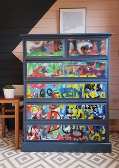 These drawers belonged to 10 year old George. Painted blue with graffiti mural wallpaper on the drawer fronts. Upcycled Furniture, Painted Furniture, Refinished Furniture, Chest Of Drawers Inspiration, Graffiti Murals, Color Splash, Bar Stools, Projects To Try, Wallpaper
