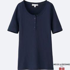 WOMEN IDLF HENLEY NECK SHORT-SLEEVE T-SHIRT, NAVY $19.90