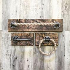 Rustic/Industrial Handmade Bathroom Set/Pipe/Rope/Unique Gift/Bar/Kitchen