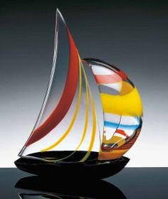 # Murano glass sailboat with colorful spinnaker Blown Glass Art, Art Of Glass, Glass Artwork, Fused Glass Art, My Glass, Stained Glass, Vases, Glass Boat, Glass Figurines