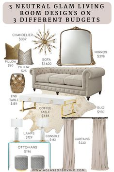 3 Neutral Glam Living Room Designs on 3 Different Budgets Living Room Decoration glam living room decor Glam Living Room, Luxury Living Room, Room Design, Living Room Furniture, Glam Room, Luxury Living, Glamour Living Room, Glam Living, Living Decor