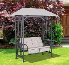 Garden Swing Chair 2 Seater Steel Frame Beige Seat Canopy Cushion Lawn Furniture