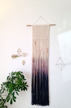 Macrame wall hanging cotton on a walnut stained by Rowanstudios