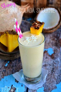 You are going to go coco-nuts for this delicious Skinny Pina Colada Smoothie made with Greek yogurt and lite coconut milk! MomOnTimeout.com
