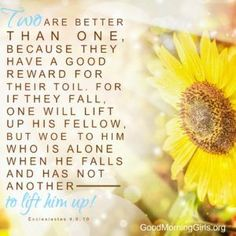 Two are better than one, because they have a good reward for their toil, for if they fall, one will lift up his fellow, but woe to him who is alone when he falls and has not another to lift him up! Ecclesiastes 4:9-10