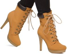 brown heeled construction boot