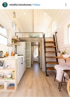 Gorgeous Rustic Tiny House Design Ideas With Two Beds. tiny homes Rustic Tiny House Design Ideas With Two Beds Best Tiny House, Tiny House Plans, Tiny House On Wheels, Rustic Stairs, Rustic Home Interiors, House Stairs, Loft Stairs, Tiny House Movement, Tiny House Design