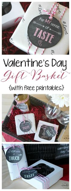 The perfect Valentine's Day Gift Basket for Him or Her! Free chalkboard printables for all your senses provided :)