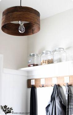 DIY wood grain sieve light fixture-love the paint colour on the walls