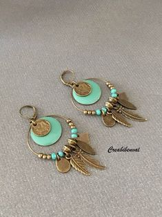 Your place to buy and sell all things handmade Clay Jewelry, Boho Jewelry, Jewelry Crafts, Jewelry Design, Jewellery, Leather Earrings, Beaded Earrings, Earrings Handmade, Hoop Earrings