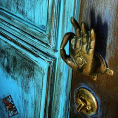 blue door, mudra hand door handle - apartmentf15 photo